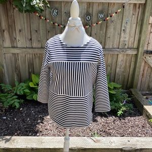 Madewell navy striped 3/4 sleeve top size Large